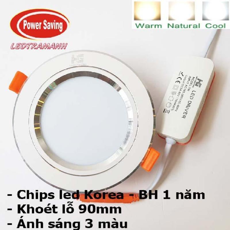 Đèn led âm trần HG 7W 3 chế độ cao cấp viền bạc