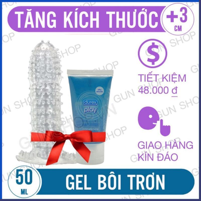 Bộ Tiết Kiệm Bao Cao Su Tăng Kích Thước Kiểu ( Dạng Thường) Và Gel Bôi Trơn Durex Play (50ml) [GUNSHOP-BZ] cao cấp