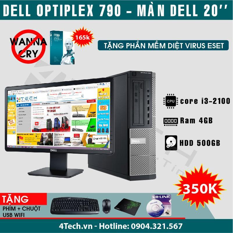 Máy tính để bàn Dell Optiplex 790  Intel Core i3-2100 RAM 4GB HDD 500GB màn hình 20 inch- Hàng nhập khẩu + Tặng bộ bàn phím chuột usb wifi.