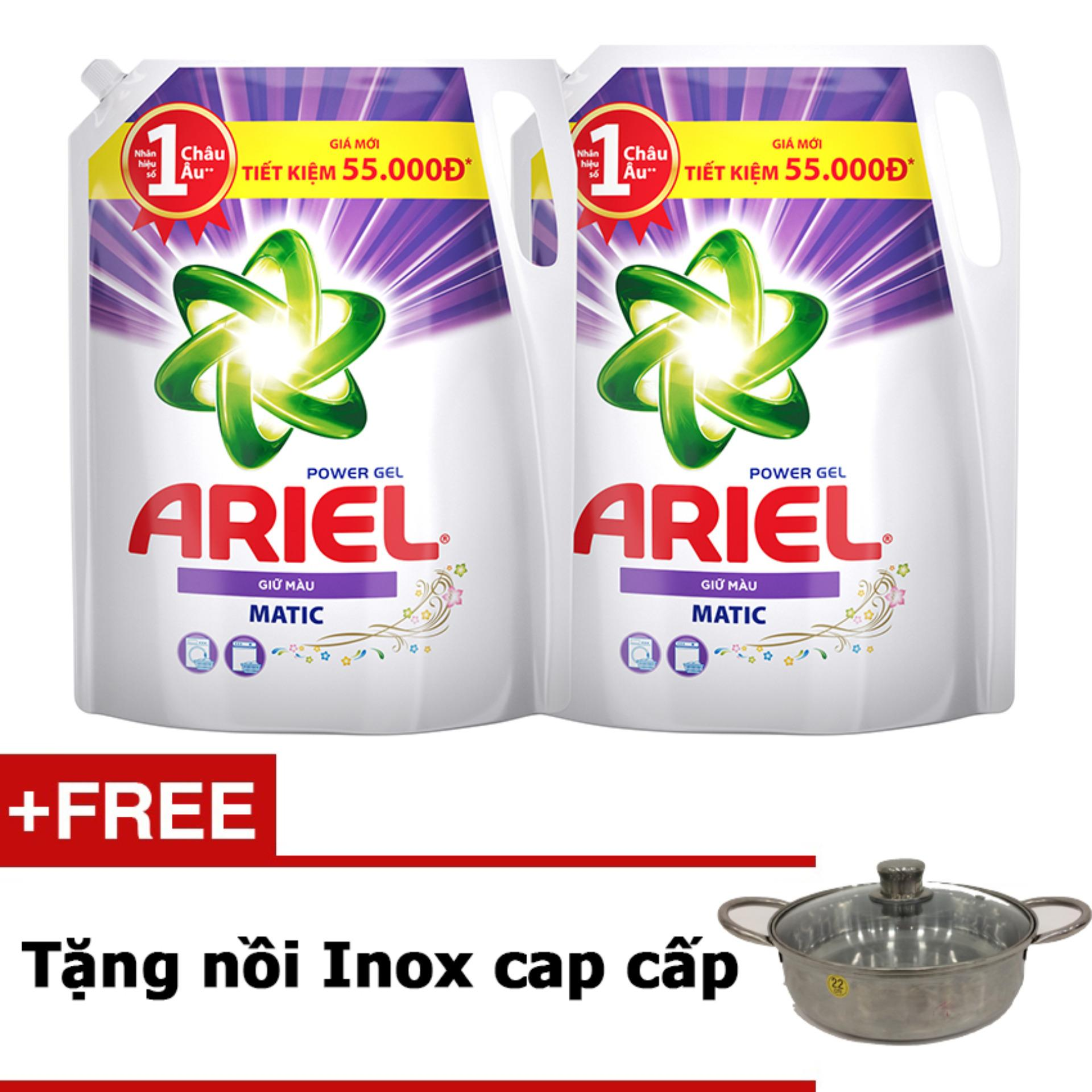 Bộ 2 Nước giặt Ariel Giữ Màu gói 2.4kg tặng nồi Inox cao cấp