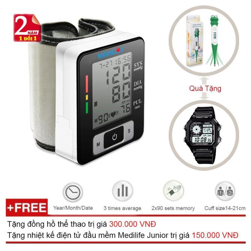 Máy Đo Huyết Áp Cổ Tay Tự Động Công nghệ Kỹ Thuật Số Medilife MBP - U60C + Tặng Đồng Hồ Thể Thao Nam  và Nhiệt kế điện tử đầu mềm Medilife Junior (OEM) nhập khẩu