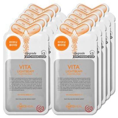 Bộ 10 mặt nạ Mediheal Vita Lightbeam Essential Mask giúp da trắng hồng Hàn Quốc 27ml tốt nhất