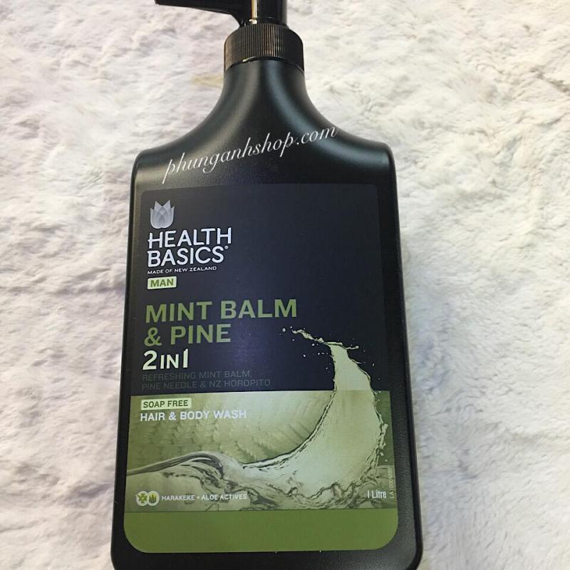 Tắm gội Health Basics Mint 2in1 1000ml / BẠC HÀ