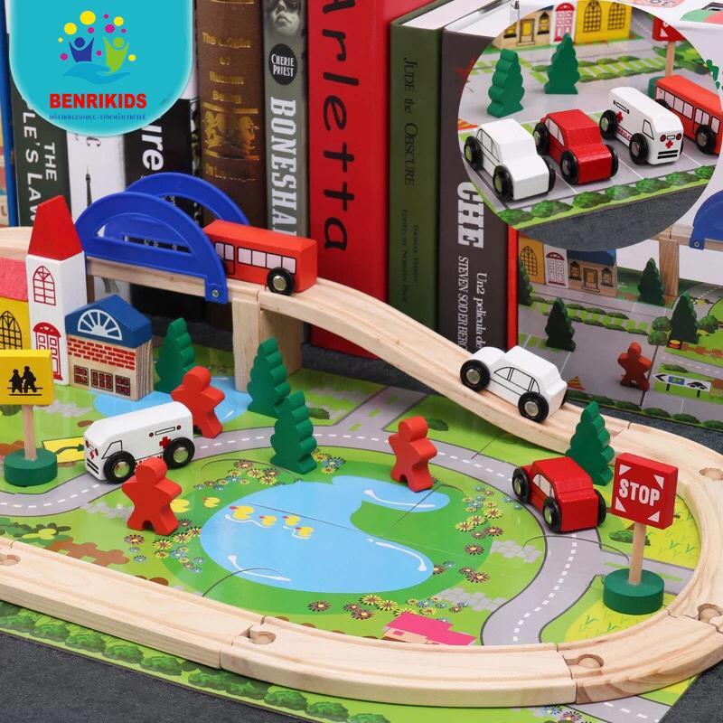 Bộ đồ chơi ghép mô hình thành phố bằng gỗ cho bé phát triển sáng tạo Nhật Bản