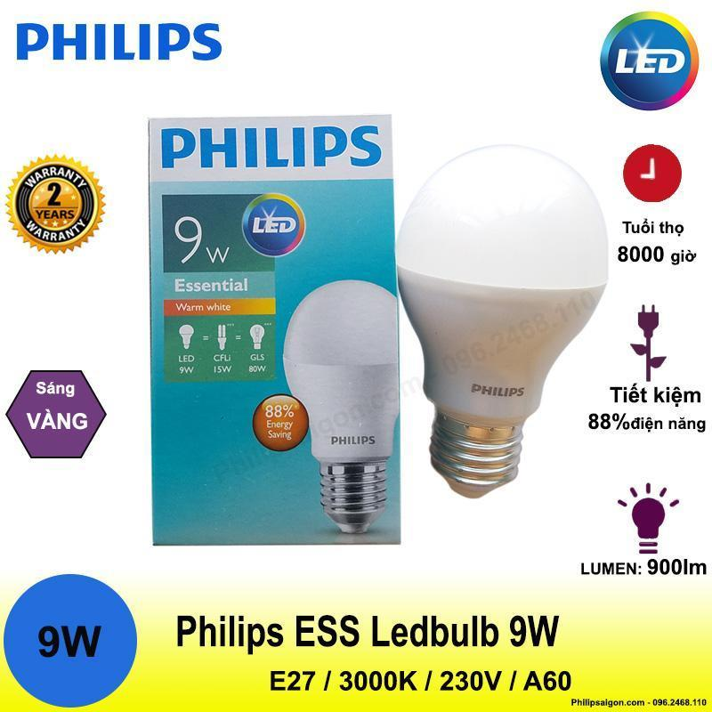 Bộ 2 bóng đèn led philips 9W Led bulb essential, Tiết kiệm điện, độ sáng cao, bảo hành 2 năm , Ánh sáng Trắng hoặc Vàng