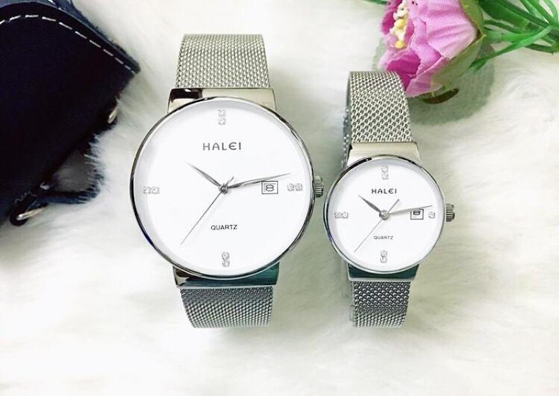 Đồng hồ cặp đôi dây thép lụa Halei Sliver