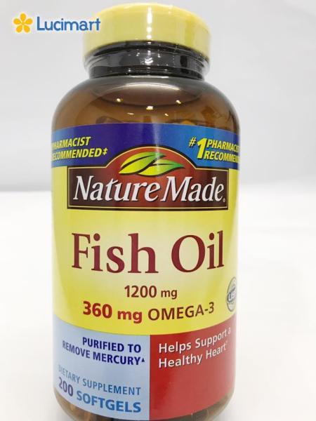 Dầu cá từ thiên nhiên từ USA Nature Made Fish Oil 1200 mg, 200 viên