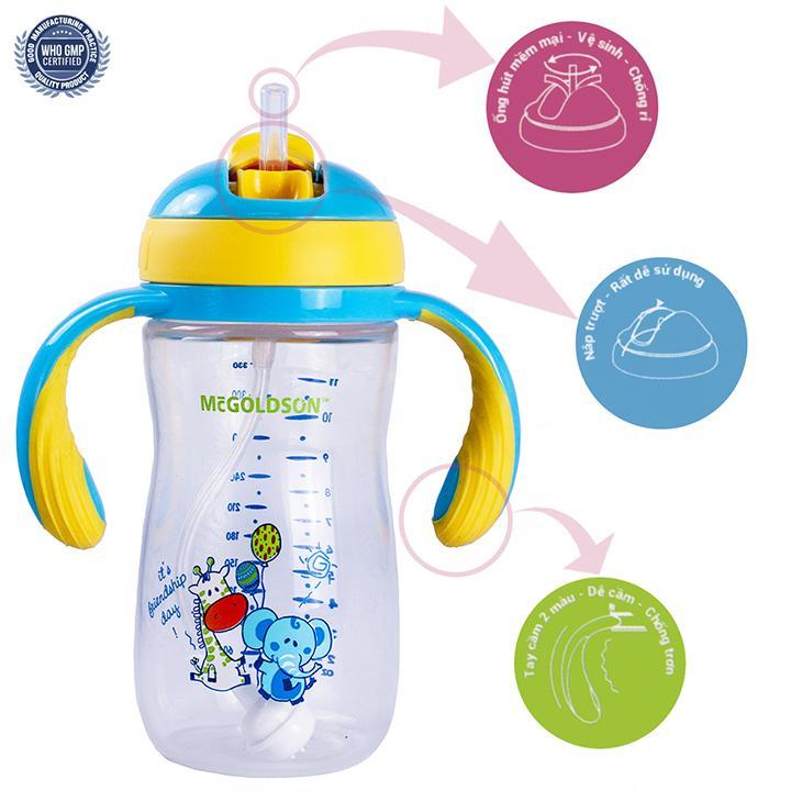 Bình tập uống  Bình nước trẻ em 330ml McGoldson có tay cầm, kiểu nắp trượt, ống hút