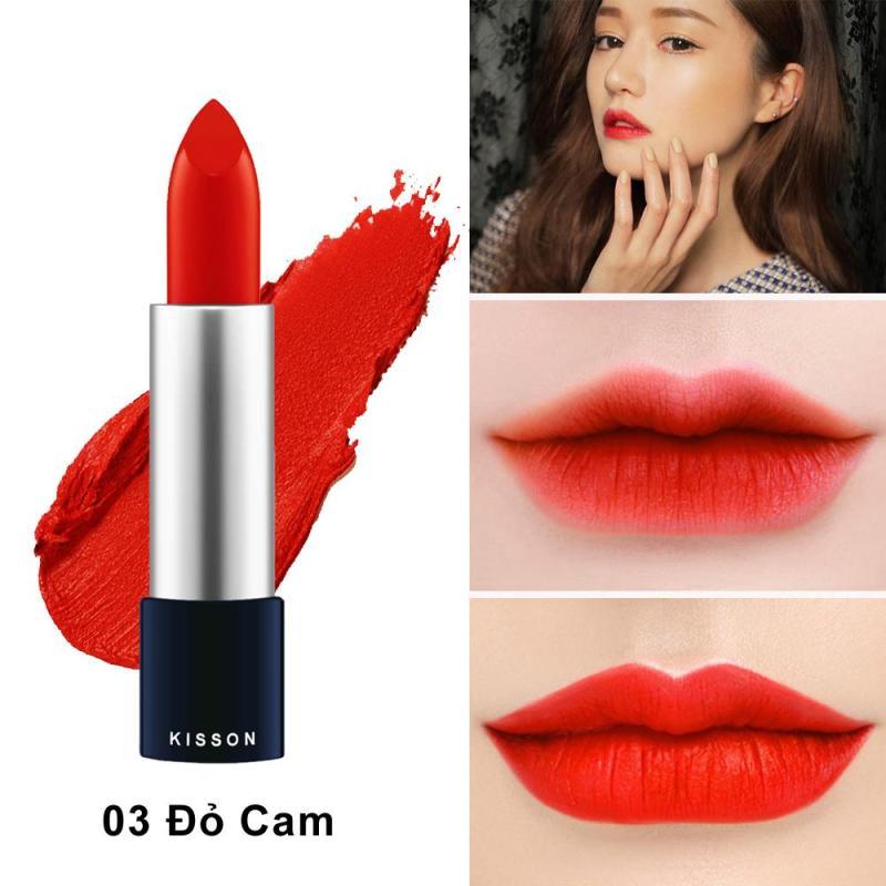 Son lì KISSON Matte Lipstick màu đỏ cam #03 cao cấp