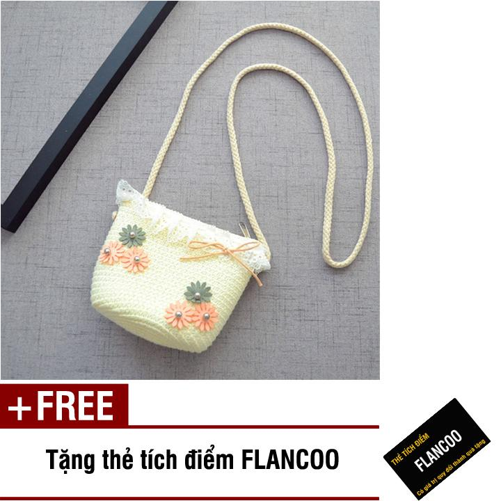 Giá bán Túi đeo chéo bé gái chất liệu cói dễ thương Flancoo 0294 (Trắng) + Tặng kèm thẻ tích điểm Flancoo