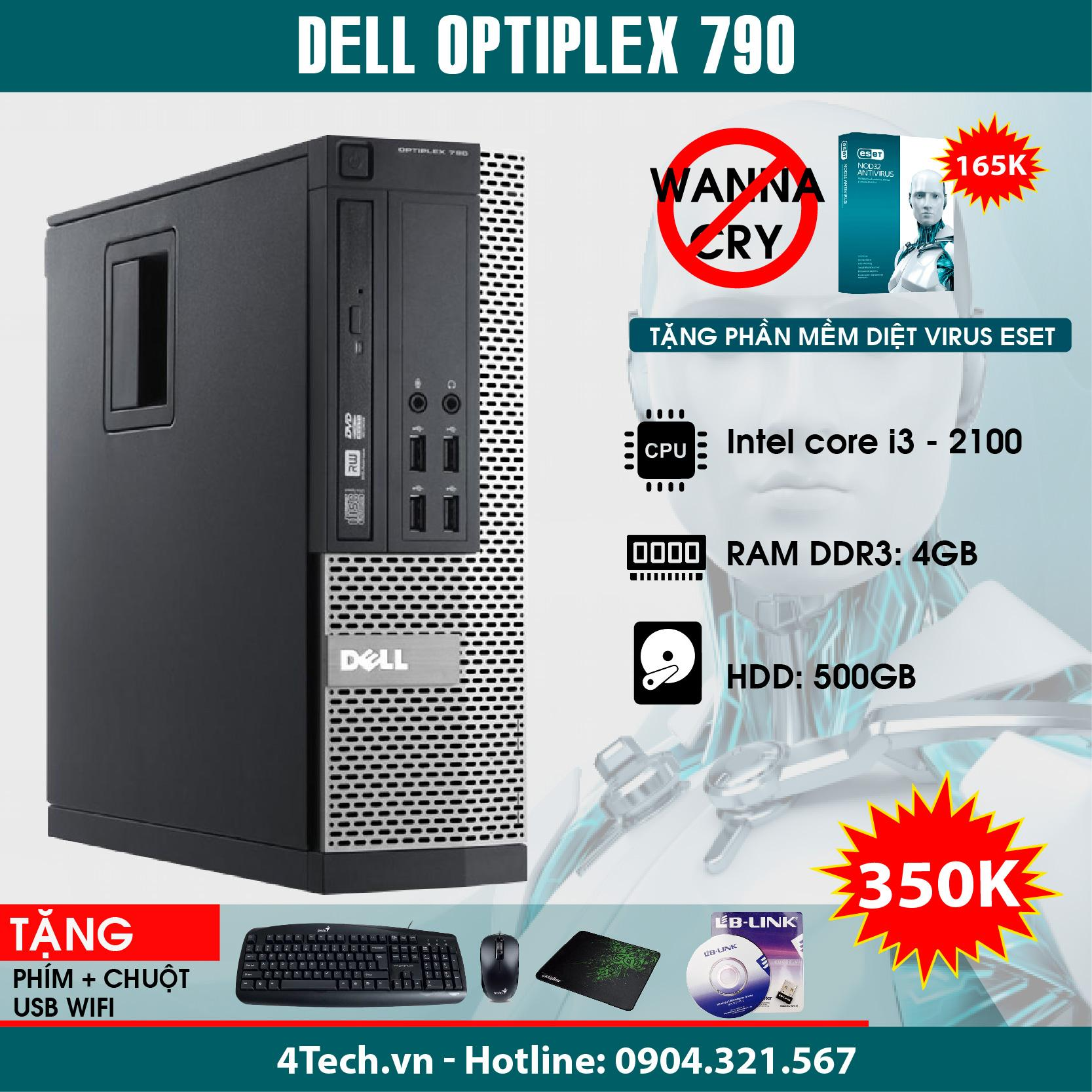 Máy Tính để Bàn Dell Optiplex 790 Intel Core I3-2100, RAM 4GB, HHD 500GB - Hàng Nhập Khẩu + Tặng 1 Bộ Bàn Phím, Chuột, Usb Wifi. Đang Ưu Đãi Giá