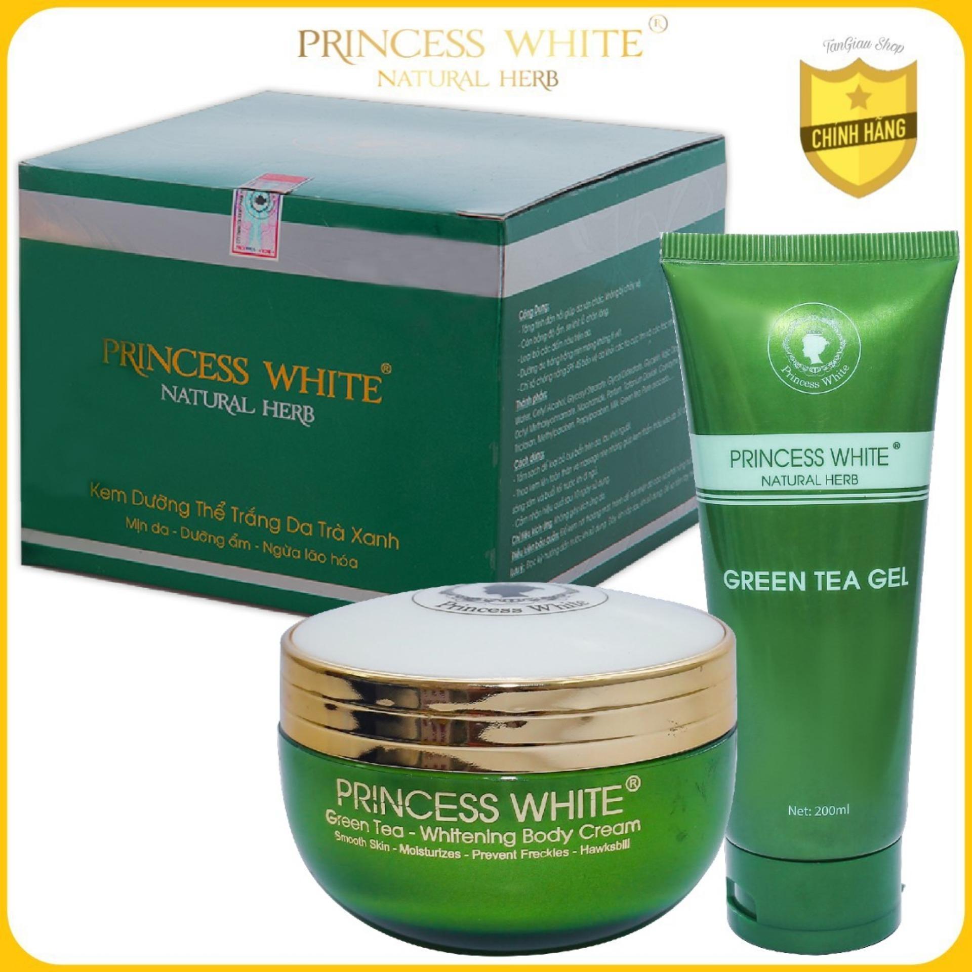 Bộ dưỡng trắng Body Trà Xanh Green Tea Princess White - Bí quyết dưỡng da trắng hồng, mịn mướt, căng tràn sức sống/200G nhập khẩu