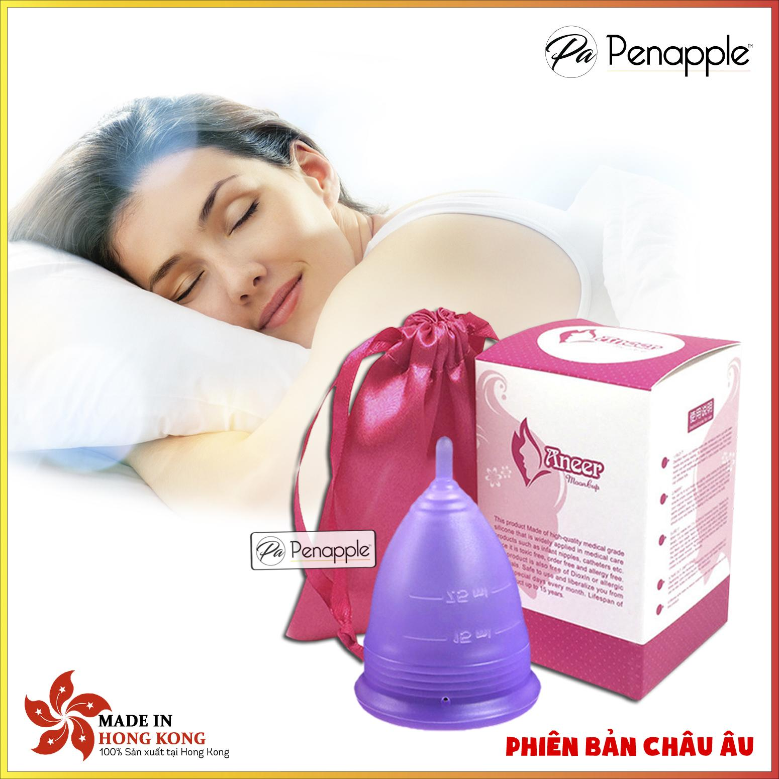 Cốc nguyệt san silicone Aneer (Tím Nhạt) thay thế băng vệ sinh và tampon - sản xuất tại Hồng Kông