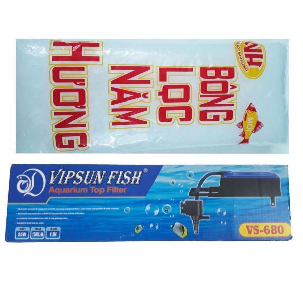 Máy Bơm Lọc Nước Hồ Cá VS-680 & Bông Lọc - Bộ Bơm Lọc Nước Bể Cá Vipsun