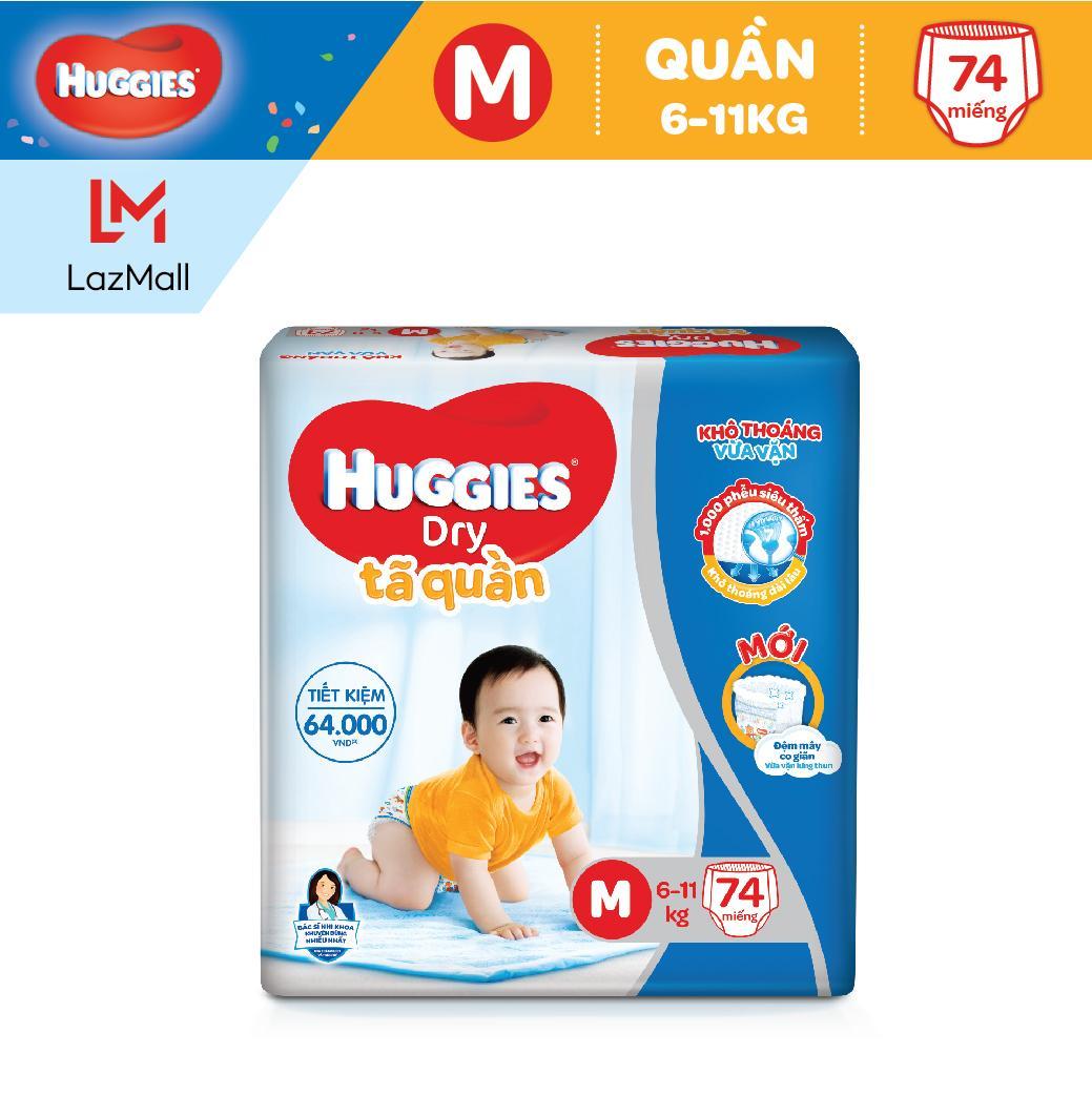 Tã/Bỉm Quần Huggies Dry Pants Super Jumbo M74 (Đệm Mây Co Giãn) - Gói 74 Miếng (Cho Bé 6Kg-11Kg)
