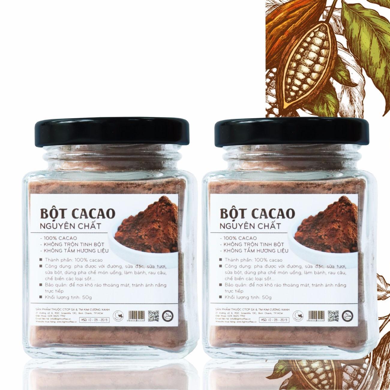 Combo 2 hũ bột cacao nguyên chất không đường Light Cacao - hũ 50gr