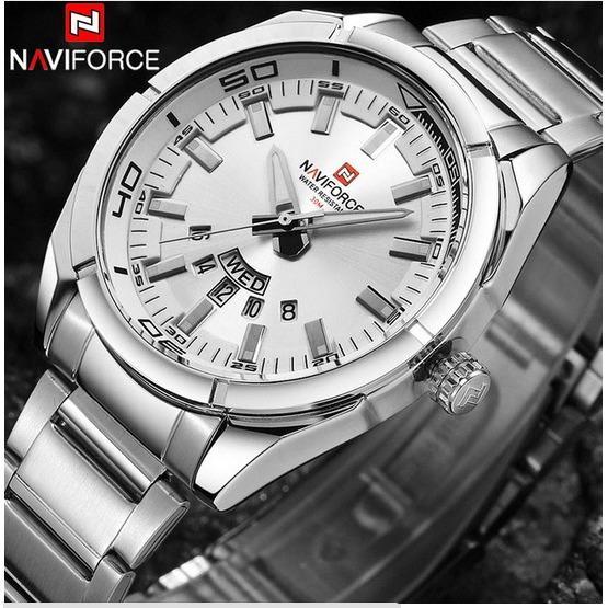 Đồng hồ nam thép không gỉ Naviforce 9038 (trắng)