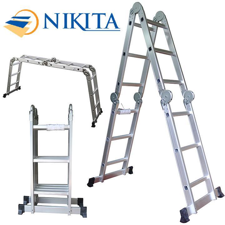Thang Nhôm Gấp 4 Đoạn Nikita GA37 - 3 Bậc 3,7m