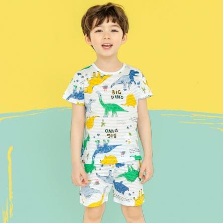 Hình ảnh Bộ Unifriend Hàn Quốc cao cấp tay ngắn cho bé trai họa tiết khủng long