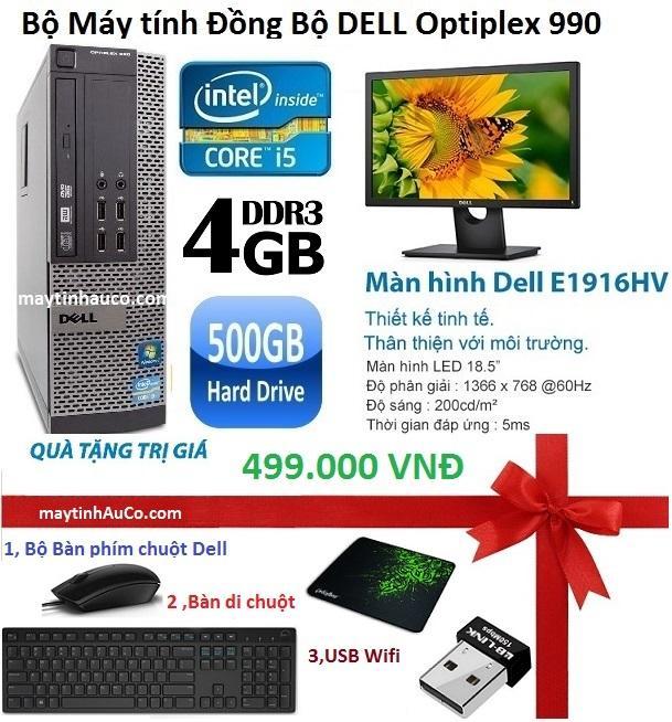 Bộ Máy Tính Đồng Bộ Dell Optiplex 990 ( Corei5 / 4g / 500g ) Và Màn Hình Dell 18,5inch ,Tặng Bàn phím chuột Dell , USB wifi , Bàn di chuột , Bảo hành 24 tháng