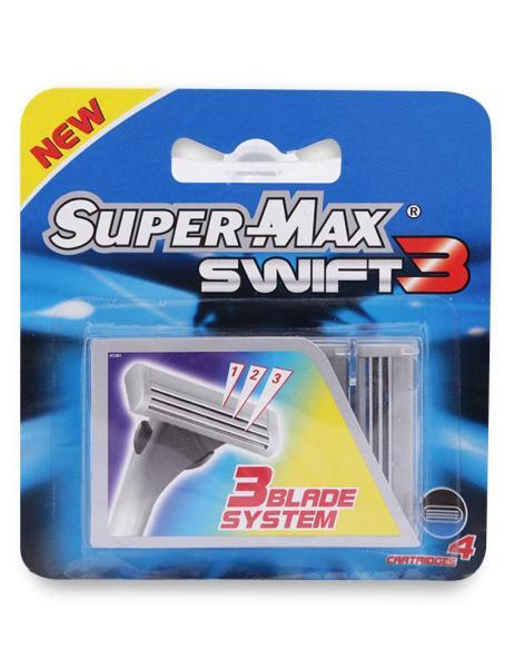 Đầu Dao Cạo Râu 3 Lưỡi Supermax Swift 3 Vỉ 4 Cái