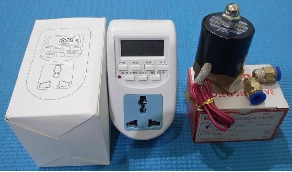 Bộ điều khiển phun sương tự động (van điện từ 8ly+ ổ cắm hẹn giờ)