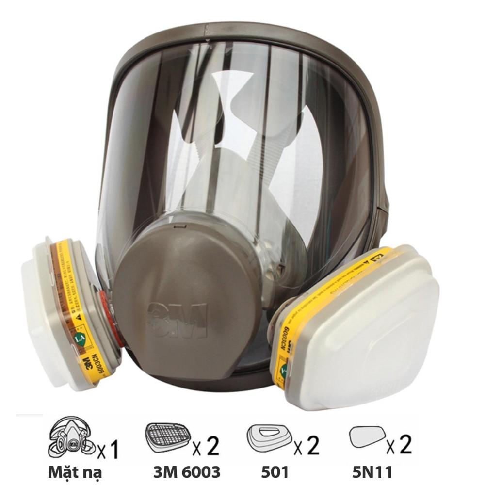 Bộ mặt nạ phòng độc 3M 6800 + Phin lọc 3M 6003 chống các chất khí độc, phun sơn, Phun thuốc sâu