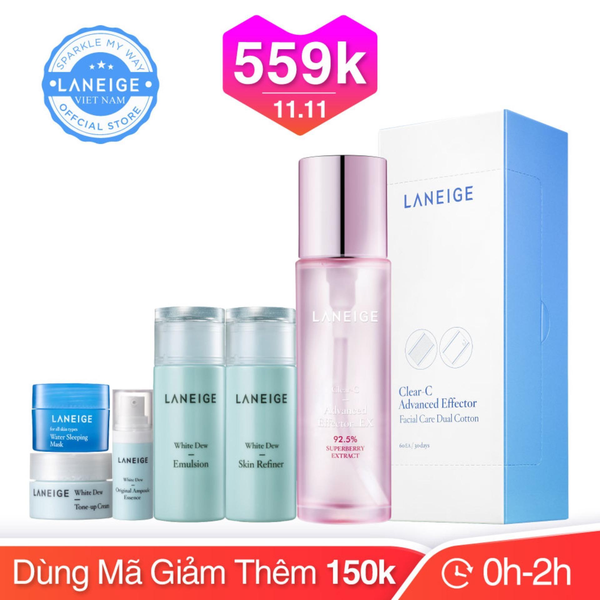 Bộ dưỡng da trắng hồng rạng rỡ Laneige Clear C Advanced Effector Ex 150ml