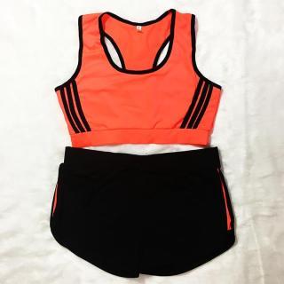 Đồ bơi nữ màu cam viền đen thumbnail