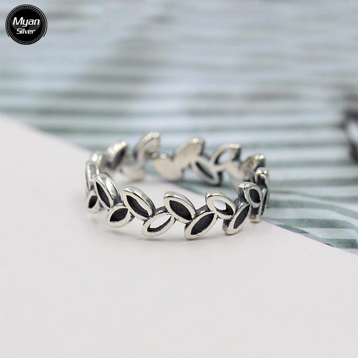 Nhẫn Bạc Thái, Nhẫn Bạc Nữ Nhẫn Nữ Đá Đen, Nhẫn Nữ Phong Cách, Nhẫn Nữ Đẹp, Nhẫn Thái Lan, Nhẫn Nữ Lá Dương Xỉ Chất Liệu Bạc Thái Cao Cấp - Myan Silver