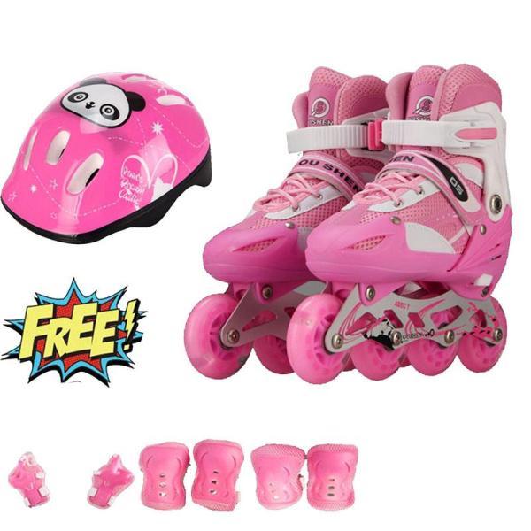 Giá bán [Lấy mã giảm thêm 30%]Giày trượt patin trẻ em bánh phát sáng OS (Size L 38-42) + Tặng bộ bảo hộ