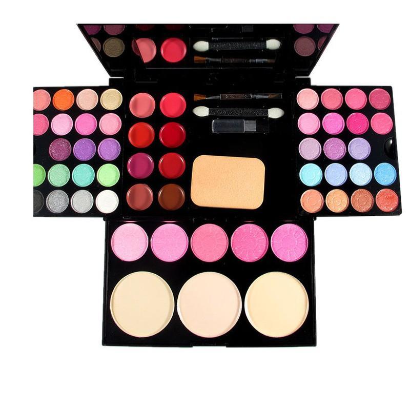 Bộ kit trang điểm 3 tầng gồm: 3 màu phấn nền, 4 phấn má hồng, 8 màu son môi  và  24 màu mắt sắc đẹp