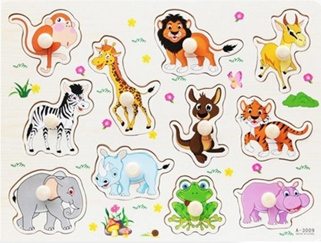 Hình ảnh Bộ xếp hình các con vật bằng gỗ (có núm cầm)
