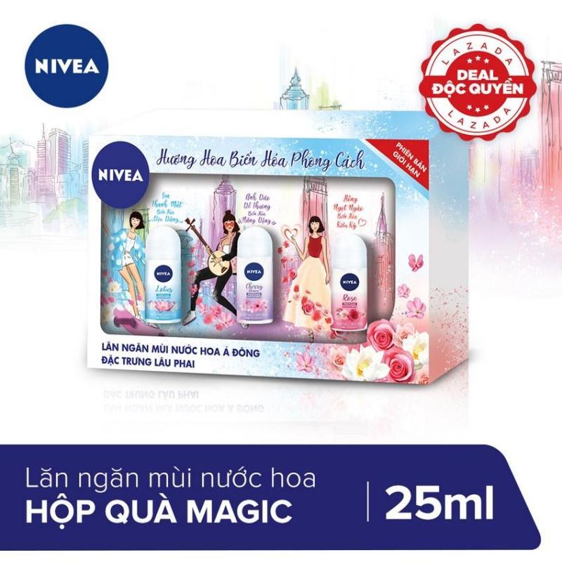 [PHIÊN BẢN GIỚI HẠN] Hộp quà 3 chai lăn khử mùi Magic Nivea 25ml nhập khẩu