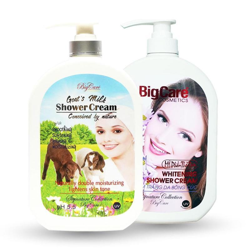 2 Sữa Tắm Trắng Da Sữa Dê Hương Hoa Bigcare Tròn 1200ml nhập khẩu