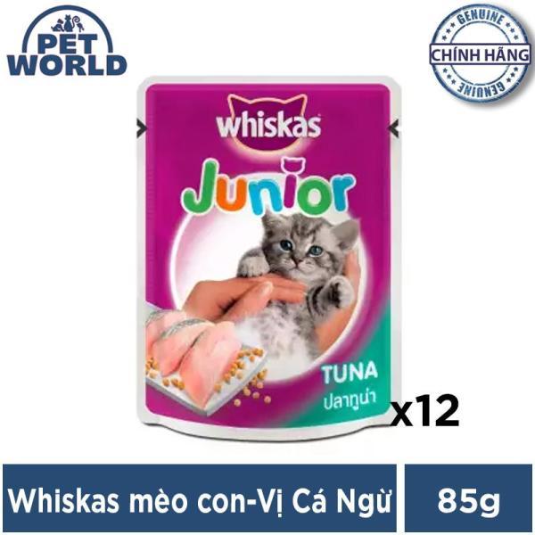Bộ 12 túi thức ăn cho mèo con Whiskas vị cá ngừ túi 85g