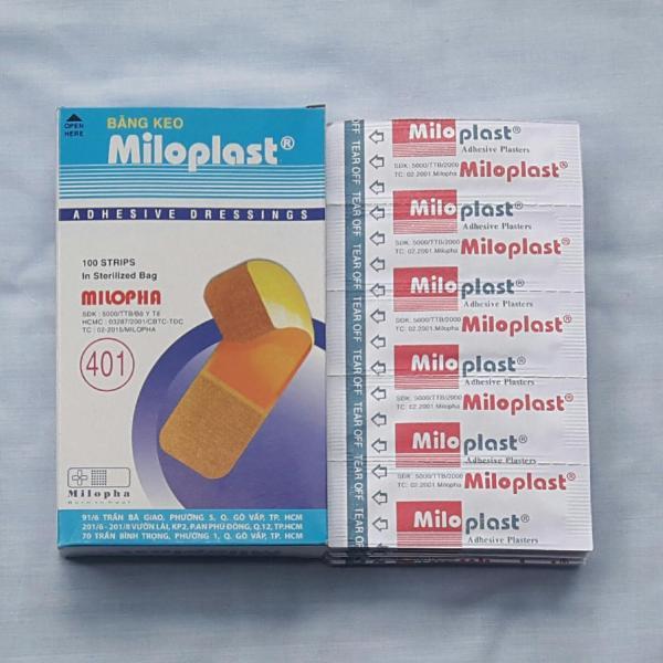 Hộp 100M Băng keo cá nhân Miloplast bảo vệ và làm lành vết thương hở tránh nhiễm trùng kiểu dáng thẩm mỹ