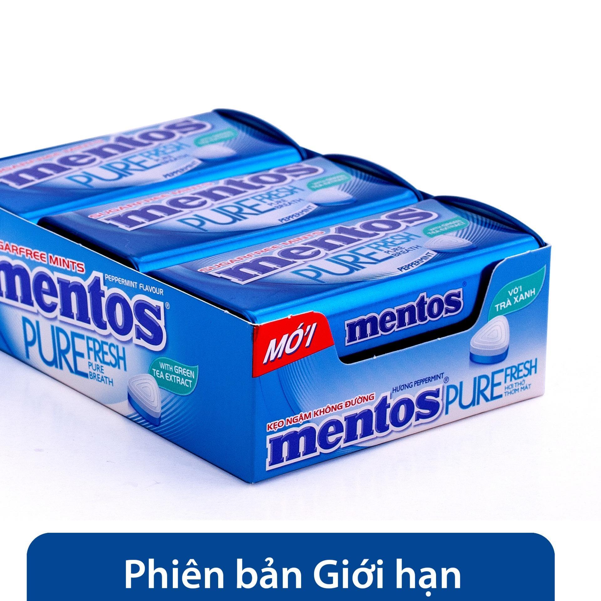 Kẹo ngậm không đường Mentos Pure Fresh hương bạc hà mạnh (hộp 6 hủ) Nhật Bản