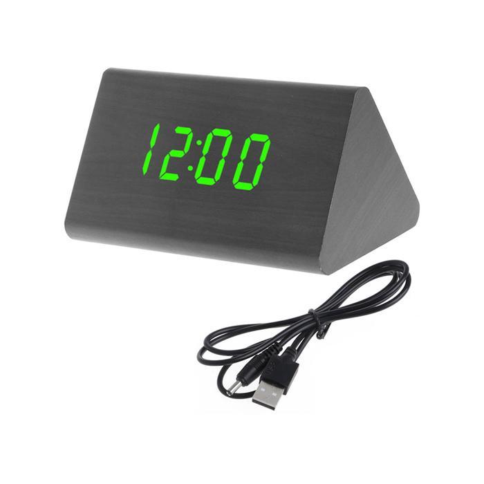 Đồng Hồ Gỗ Báo Thức Tam Giác (Wood LED Digital Desk Alarm) bán chạy