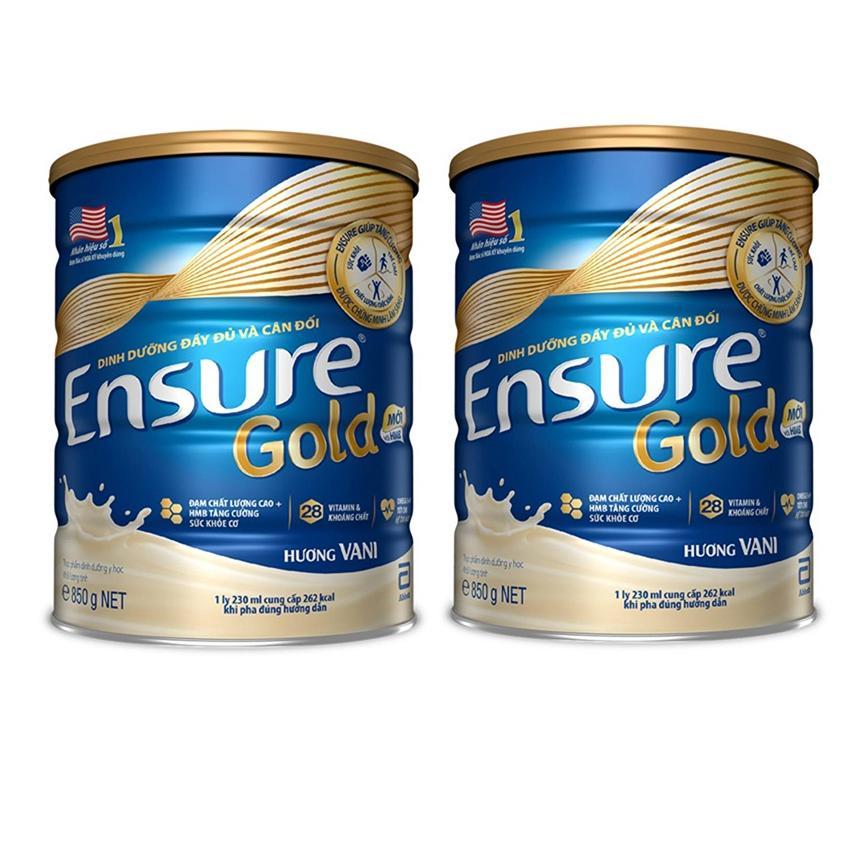 Bộ 2 lon sữa bột Ensure Hương Vani 850g + Voucher 100k mua hàng tiêu dùng