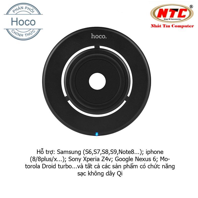 Đế sạc không dây Hoco CW9 thiết kế dễ thoát nhiệt - Hỗ trợ tất cả thiết bị có sạc không dây Qi (Đen) - Hãng phân phối chính thức