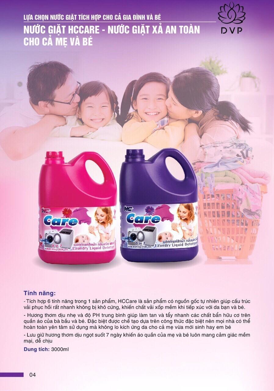 Nước giặt xã Baby HC Care 2 IN 1 CAN 3000ML - HỒNG THƠM NHIỀU