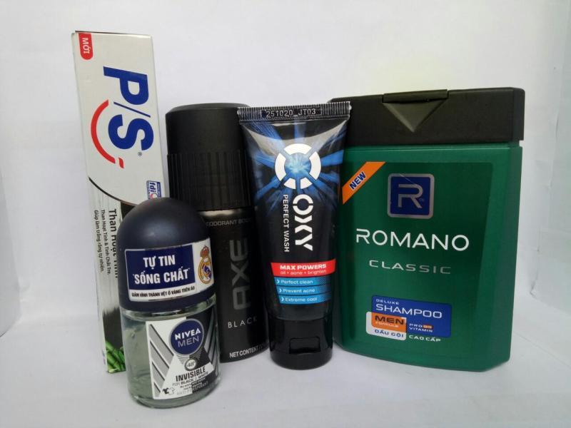trọn bộ 5 món :1chai Dầu Gội Romano Classic 100g (hàng tặng) + 1chai xịt khử mùi Axe (50ml/chai) + 1tuýt sữa rửa mặt Oxy (25g/tuýt) + 1chai lăn Nivea nam (12ml/chai) + 1tuýt kem đánh răng ps 30g+ tặng 1 túi đựng xinh xắn nhập khẩu