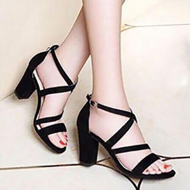 [ẢNH THẬT] Giày cao gót sandal 7 phân quai mảnh chéo gót SD02 giá rẻ