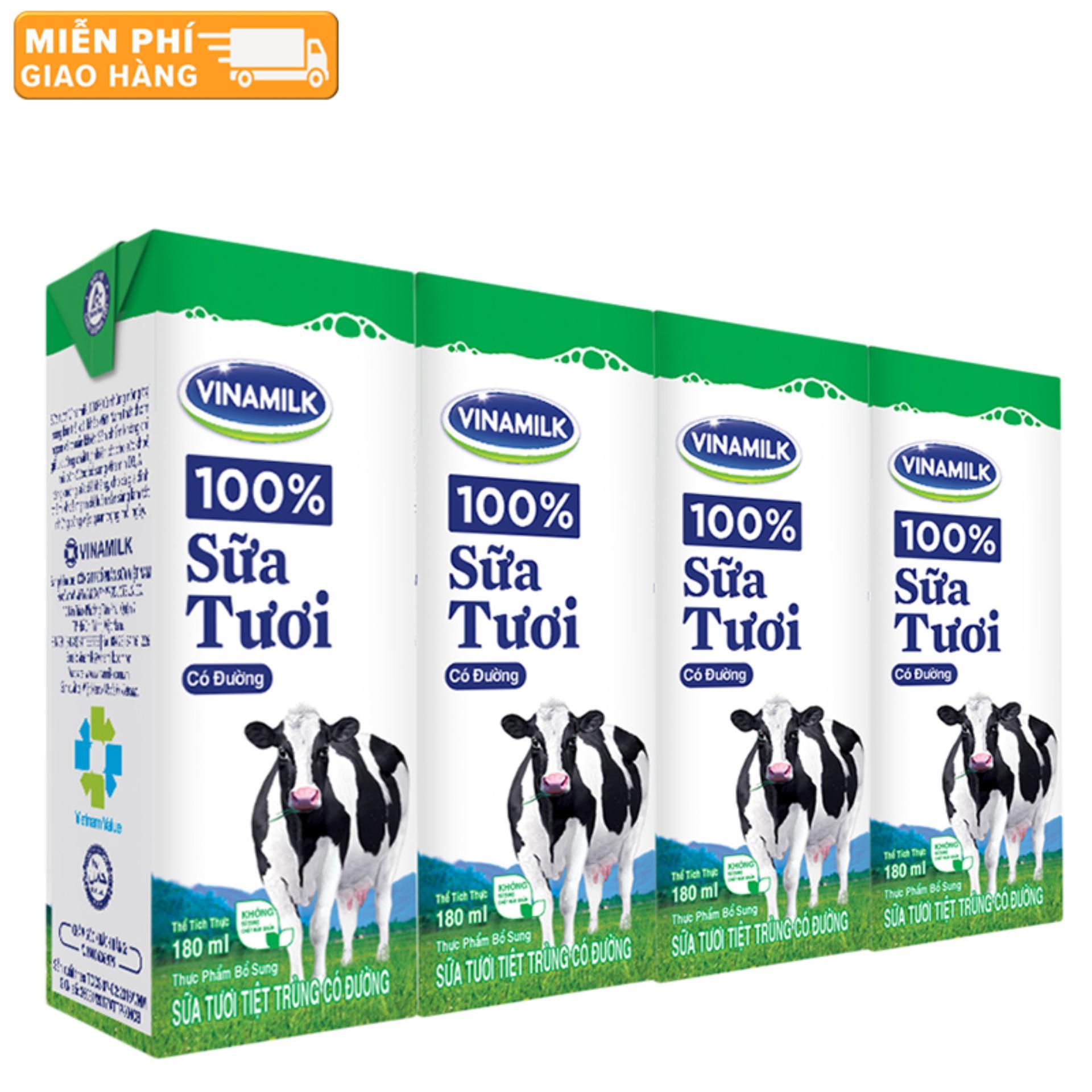 Thùng 48 Hộp Sữa tươi tiệt trùng Vinamilk 100% Có đường 180ml