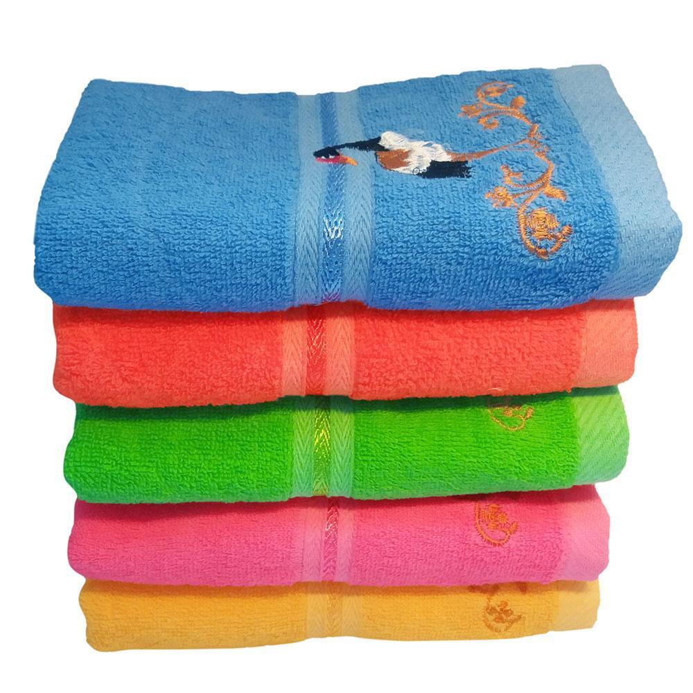 Bộ 2 Khăn gội đầu thêu 80x38cm hàng Việt Nam xuất khẩu Nhật chất lượng cao, khăn đẹp làng nghề Phùng Xá-Mỹ Đức 100% cotton tự nhiên mềm mịn, thấm hút tốt, hình con cò, món quà đơn giản và ý nghĩa cho mọi gia đình