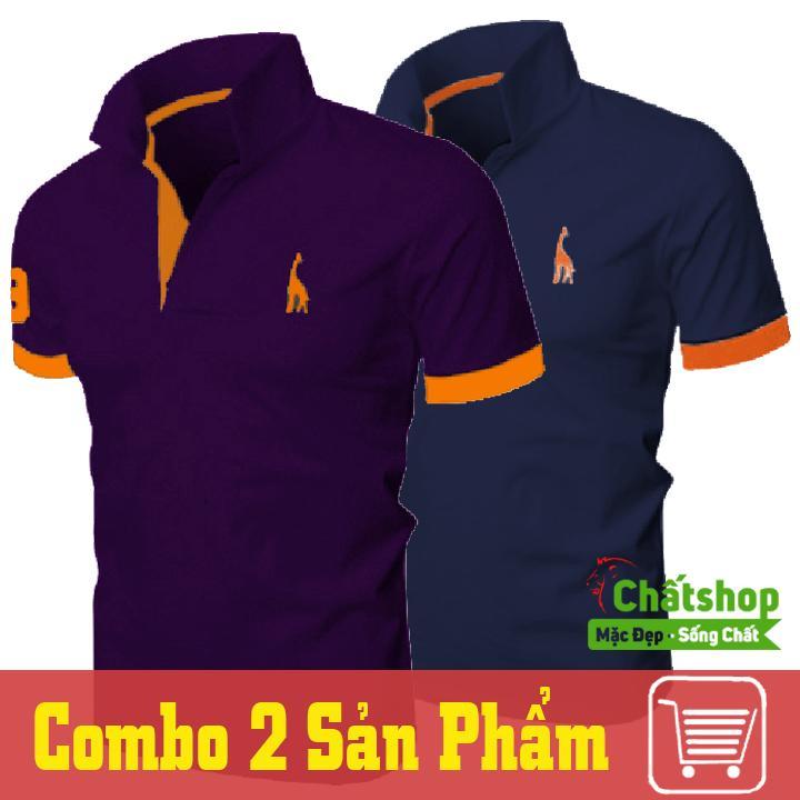 Bán Combo 2 Ao Thun Polo Hươu Tim Xanh Đen Chất Shop