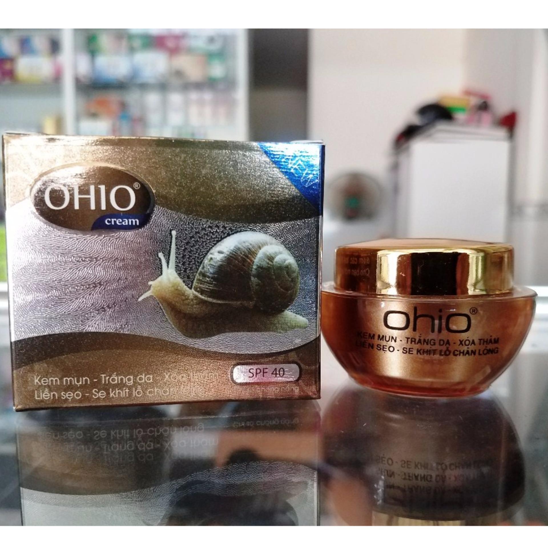 Kem trị mụn - Trắng da - Xóa thâm - Liền sẹo - Se khít lỗ chân lông Ốc Sên OHIO New Day - 20g Nhật Bản