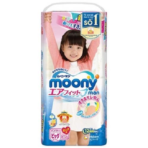 Bỉm - Tã quần Moony size XL bé gái - 38 miếng (Cho bé 12 - 17kg)