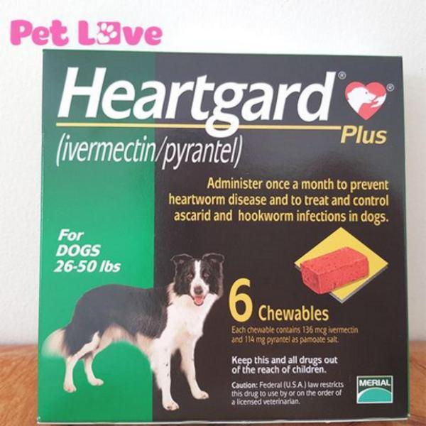 1 hộp Heartgard (6 viên) xổ giun tim, giun đũa, giun móc (chó từ 11,5 - 22,5 kg)